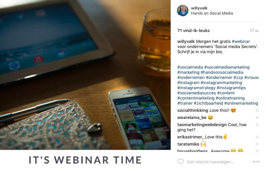 voorbeeld instagram bericht