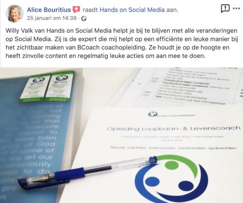 aanbeveling hands on social media